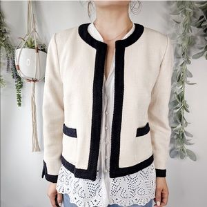 ANN TAYLOR Blazer Ivory Black Colorblock Hem